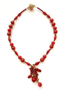 Red coral choker necklace with pendant Coral wedding Red stone jewelry for  wife Dainty choker Bib 88653cf149e
