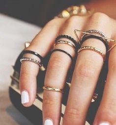 Delicate black & gold ring stacks