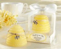 This would be such a sweet baby shower favor! I think the locally made beeswax candles would be a cute game prize. Like the honey stick favors, I like the idea of two of them together, wrapped in burlap and/or a strip of cloth or ribbon.