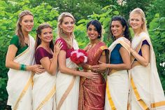 Fusion wedding with beautiful bridesmaids in South Indian sarees