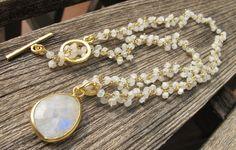 Moonstone Necklace- Silver Moonstone Necklaces- White Stone Necklaces- Gold Necklace- Rainbow Moonstone Necklace-Moonstone Bead Necklace