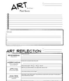 Art Goals and Reflections - interesting. May be useful after a unit of lessons as a way to wrap up.