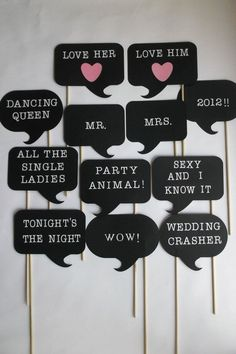 - Photo Booth - you can probably DYI and also make even more funnier thoughts/sayings-want to do this for wedding since we will have a photobooth! Wedding Props, Diy Wedding, Dream Wedding, Wedding Decorations, Wedding Ideas, Wedding Rustic, Photos Booth, Diy Photo Booth, Photo Booth Signs