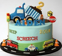 For a little boy who loves all things on wheels. Design based on party ware