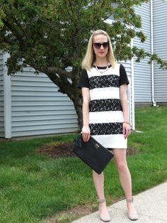 Loft lace striped dress, Gigi New York uber clutch