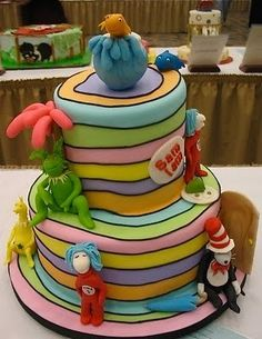 "Dr. Seuss cake on an ""Oh the Places You'll Go!"" background ~"