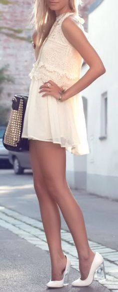 Lace Crochet Chiffon Dress <3