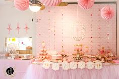 Pink tutu party! Gold and pink. Tutus, ballerinas, tutu table skirts, cupcakes, brownies, popcorn, cakes, candy bar, pirouette cookies, printables, etc.