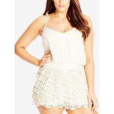 City Chic Plus Size Layered Lace Romper ($89) ❤ liked on Polyvore featuring plus size women's fashion, plus size clothing, plus size jumpsuits, plus size rompers, creme, plus size womens rompers, plus size romper, white romper, lace rompers and white lace romper