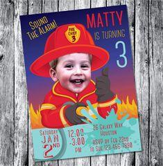 Bombero invitación rojo archivo DIGITAL por SandyFordDesign en Etsy