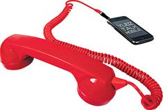 Retro Handset by Yubz: Plug it into your iPhone and reduce radiation. Available in a variety of colors or with funky graphic designs. Plus, how fun would it be to see people's faces as you are talking on this. My Favorite Color, My Favorite Things, Back To The 80's, Cool Stuff, Stuff To Buy, Action Poses, World Of Color, Iphone, Cool Gadgets