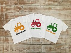 Homegrown Tractor T-shirt for Babies and Toddlers - Red, Green or Yellow Farmer I Shop, My Etsy Shop, Red Tractor, Keepsake Quilting, Organic Baby, Baby Bodysuit, Trending Outfits, Handmade Gifts, Shirt
