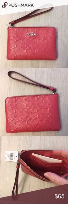 """NWT pink coach wristlet NWT pink coach wristlet, 6"""" wide 4"""" tall. Came in gift wrapping, only removed from wrap for pictures. Tag does still have price on it, if buying for someone else. Coach Bags Clutches & Wristlets"""