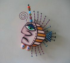Twisted Fish, Original Found Object Sculpture, Wall Art, Wood Carving, by Fig Jam Studio