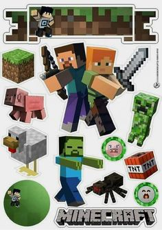 Minecraft Crafts, Minecraft Party Decorations, Minecraft Creations, Minecraft Ideas, Mine Craft Party, Minecraft Poster, Pastel Minecraft, Minecraft Birthday Card, Minecraft Cake Toppers
