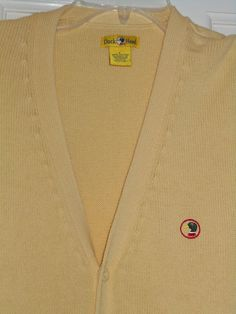 Mens DUCK HEAD Golf Yellow Embroidered Logo V-Neck Knit Sweater Vest~L #DuckHead #KnitSweaterVest