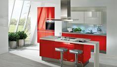 Einbauküche Aspen Grifflos Rot Glänzend