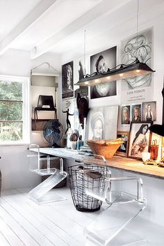 modern office, desk attached to wall