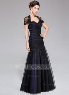 Trumpet/Mermaid Off-the-Shoulder Floor-Length Taffeta Tulle Mother of the Bride Dress With Ruffle Lace Beading Sequins (008040827)