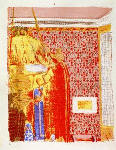 "The Athenaeum - Interior with Pink Wallpaper (from the series ""Landscapes and Interiors"") (Édouard Vuillard - )"