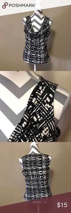 Calvin Klein dress top Black and white , always wore this under my blazer. It's the perfect shirt Calvin Klein Tops Blouses