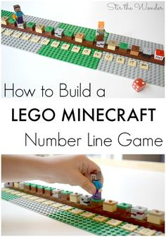 Learn how to build a LEGO Minecraft Number Line Game and how to play this math game for hands-on learning with your kids! Lego Minecraft, Minecraft Party, Minecraft Classroom, Minecraft Activities, Kids Learning Activities, Stem Activities, Space Activities, Minecraft Crafts, Learning Toys