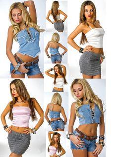 Damen Satin Top,Jeans Top Trägertop Bauchfrei Shirt Jeansshirt Satinshirt 36,38