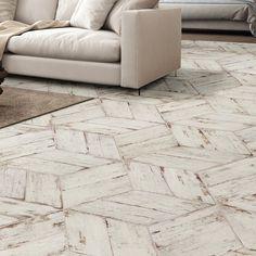 Rama 7 x 17 Porcelain Wood Look Tile in Blanco Wood Tile Floors, Kitchen Flooring, Wood Look Tile Floor, Rustic Tile Flooring, White Tile Floors, Kitchen With Tile Floor, Home Flooring, Wood Look Tile Bathroom, Distressed Wood Floors