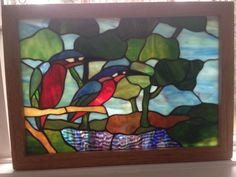 "Vintage Stained Glass Window Blue Birds Window Panel About 17 5"" by 12 5"" RARE 