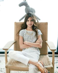 MAY '14 Style Guide: J.Crew girls' tee in glitter medallion and cotton-linen drawstring pant.