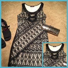 🎊HP-12/10/16🎊 Hale Bob lace/ illusion Dress🎀 🎊Host Pick- Style Staples Party 🎉 12/10/16!!🎀amazing quality and comfortable! Black lace dress w white built in slip underneath for illusion look. Has black satin trim along neck line with gorgeous black stone embellishments. Has side zipper and scalloped edging on bottom. Worn twice, cleaned and ready to go to a new home! 🎀 Hale Bob Dresses Midi