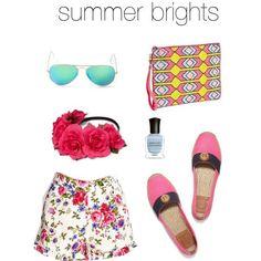 "rayban flash lenses | tory burch espadrilles | express floral crown | deborah lippmann ""blue orchid"" | silk floral shorts #obsessing #currentlycraving #summerbrights"