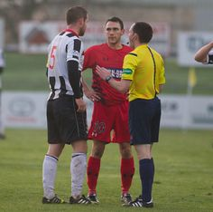 Shaun Fraser not impressed by the tackle of the Elgin City defender