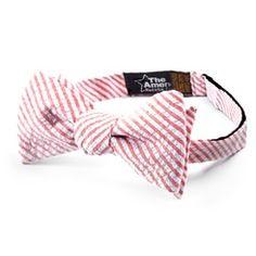 Seersucker Stripe Self Tie Bow Tie by The American Necktie Co - Red Cotton