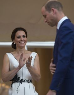 The Duchess of Cambridge applauds her husband, The Duke of Cambridge after he has delivered his speech at the Queen's Birthday Garden Party at the Orangery, Lazienki Park, Warsaw, Poland, on the first day of their five-day tour of Poland and Germany. via @AOL_Lifestyle Read more: https://www.aol.com/article/lifestyle/2017/07/17/duchess-kate-another-daring-neckline-poland/23034505/?a_dgi=aolshare_pinterest#fullscreen