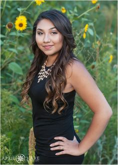 Gorgeous High School Senior Girl with Sunflowers during yearbook portrait session in Denver Colorado. - April O'Hare Photography http://www.apriloharephotography.com