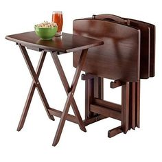 TV Table Set 5pc Tray Stand Curved Rectangle Wood Portable Folding Winsome