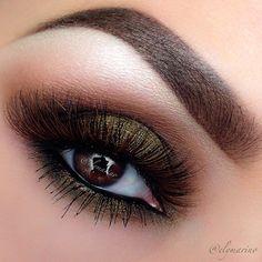 Olive brown smokey eye makeup