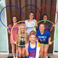 Who better to support your country in the olympics with than your sorority sisters? Love these spirited outfits!