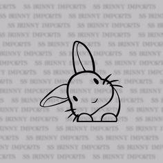 rabbit car sticker/ laptop decal / phone vinyl sticker, glossy black blue color for cars - Blue Things Peeking Head Tilt Bunny Decal Sticker; Car Stickers, Laptop Stickers, Doodles, Laptop Decal, Car Decal, Sticker Vinyl, Love Wallpaper, Lettering, Easy Drawings
