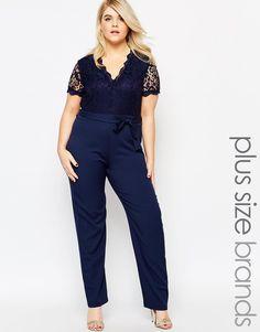 Image 1 ofClub L Plus Size Jumpsuit With Scallop Lace Top