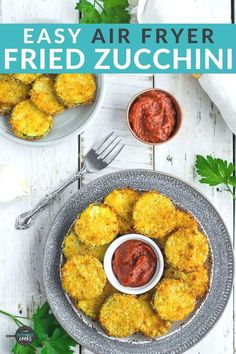 Make amazing Air Fryer Zucchini Chips for your family with this simple recipe! A crunchy coating of panko breadcrumbs and parmesan cheese make these healthier fried zucchini chips poppable and irresistible. No air fryer? You'll also find alternative cooking methods in the post. Zucchini Side Dishes, Healthy Side Dishes, Veggie Dishes, Side Dish Recipes, Vegetable Recipes, Veggie Snacks, Veggie Fries, Air Fryer Dinner Recipes, Air Fryer Recipes