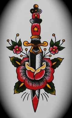 #tattoo #traditional #dagger