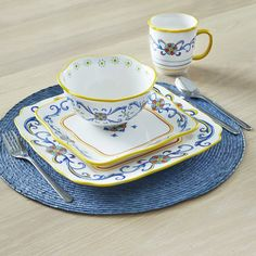 Ebern Designs Theydon 16 Piece Dinnerware Set, Service for 4 Square Dinnerware Set, Dinnerware Sets, Blue And White Dinnerware, Everyday Dishes, Porcelain Dinnerware, Decorating Supplies, Square Plates, Dinner Plates, Dinner Ware