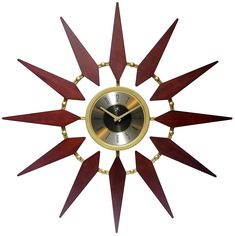 Infinity Instruments Orion Starburst Wall Clock at Lowe's. Dial back to the turn of the century and you'll quickly realize why this oversized wall clock is bursting with bounds of style. Inspired by mid century Modern Wall, Modern Decor, Mid-century Modern, Modern Clock, Modern Bedroom, Modern Living, Modern Interior, Sunburst Clock, Metal Clock