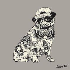 Pug Tattoo by @huebucket so creative!