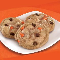 The classic chocolate chip cookies gets a Halloween twist with dark brown and orange chocolate morsels. Just as delicious and twice as fun.
