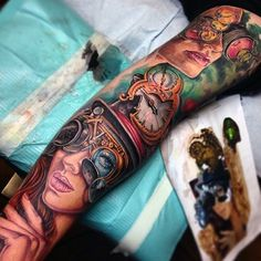 http://tattooimages.biz/picture/39047-new-school-style-colored-mystical-woman-portraits-tattoo-on-sleeve-combined-with-mechanical-glasses-and-clock/