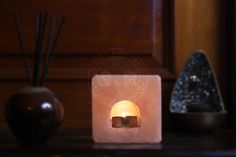 Himalayan Salt Cube Tealight Candle Holder