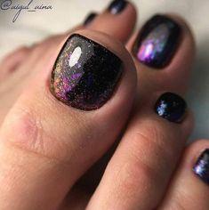 Gel Toe Nails, Black Toe Nails, Pretty Toe Nails, Cute Toe Nails, Toe Nail Art, Fancy Nails, Acrylic Nails, Coffin Nails, Purple Toe Nails